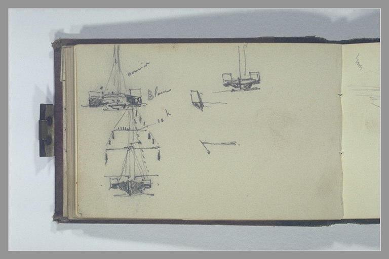 Trois études de bateaux, vus de face