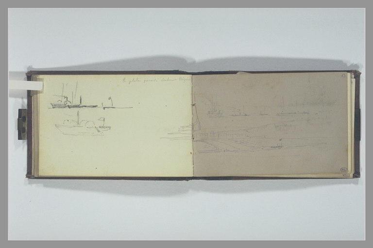 Deux bateaux à roues ; note manuscrite ; rivage