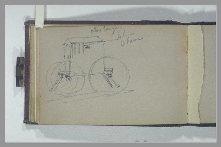 ISABEY Eugène : Une cabine de bain montée sur roues