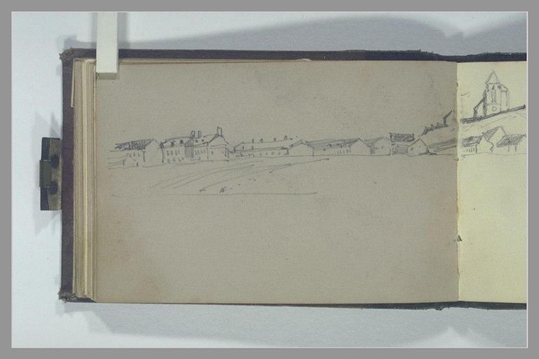 ISABEY Eugène : Maisons et bâtiments bordant la plage
