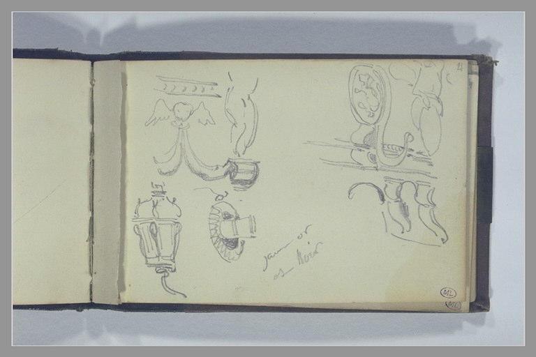 ISABEY Eugène : Lanternes et sculptures du château arrière d'un bateau