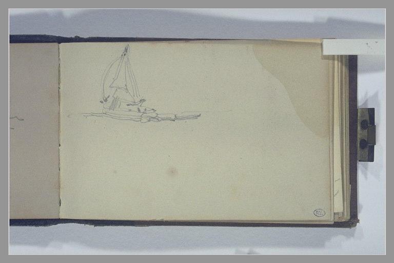 ISABEY Eugène : Un voilier vu de trois quarts par l'arrière