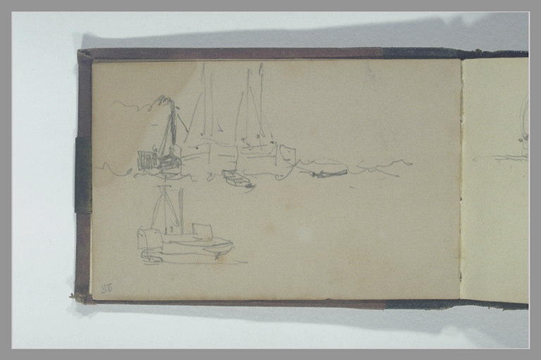 ISABEY Eugène : Quatre bateaux dont deux avec leur chaloupe