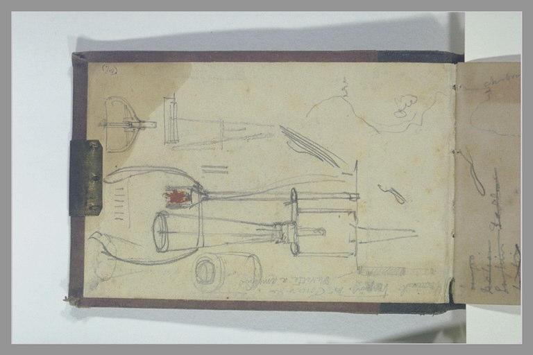 Coupe de la carène d'un bateau ; carte de la côte Normande ; croquis