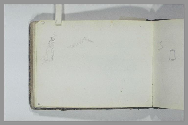 ISABEY Eugène : Femme debout, de profil, croquis