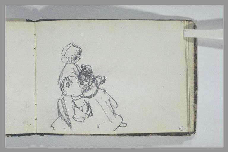 Femme en costume traditionnel, assise, un enfant sur les genoux