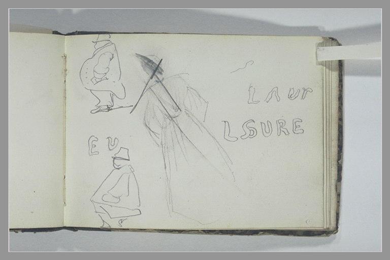 Inscription ; femme, debout, de dos ; deux caricatures d'hommes, de profil_0