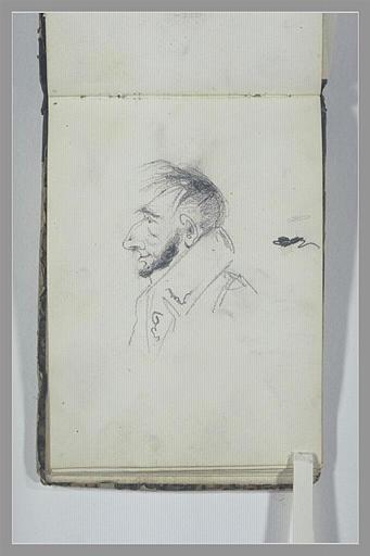 ISABEY Eugène : Caricature d'un homme barbu, de profil, vu en buste