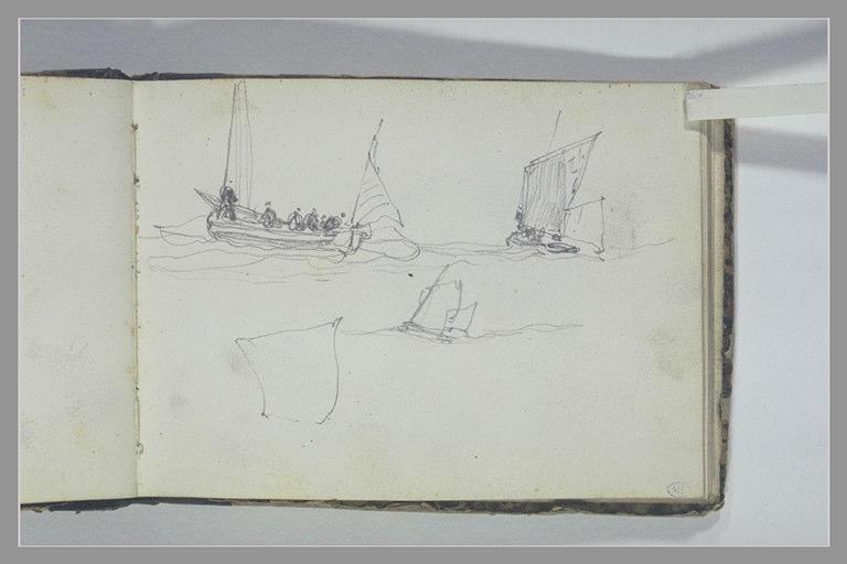 ISABEY Eugène : Trois bateaux de pêche