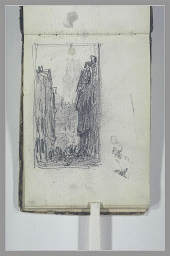 ISABEY Eugène : Une rue donnant sur un beffroi ou un clocher