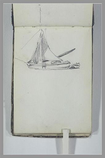 ISABEY Eugène : Bateau à voile avec sa chaloupe