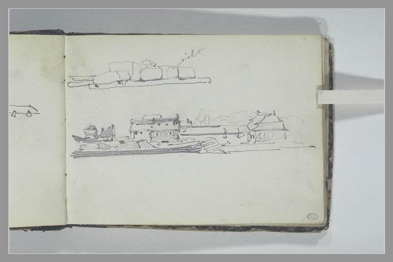 ISABEY Eugène : Chargement, barge à quai devant des bâtiment