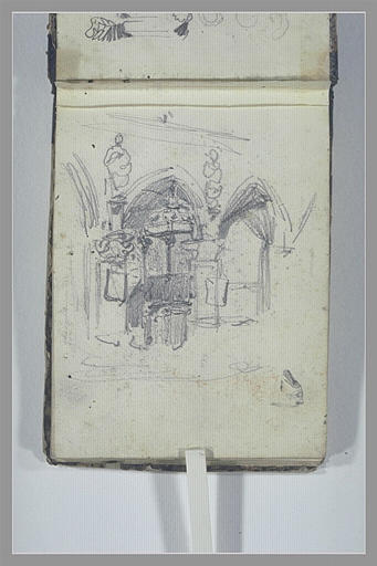 ISABEY Eugène : Porche gothique