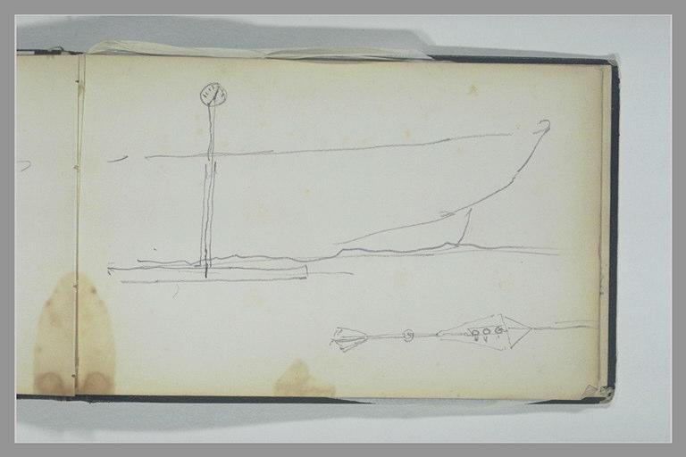 Feux de position d'un bateau ; manette de vapeur sur le pont d'un bateau