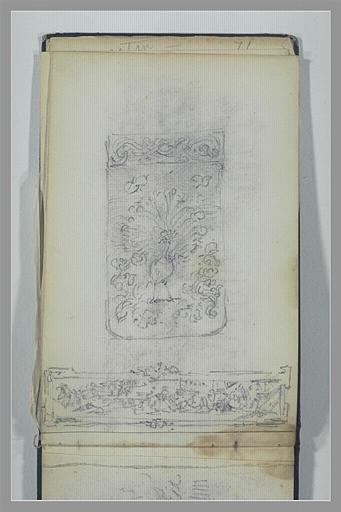 Panneau décoratif avec un paon ; composition non identifiée_0