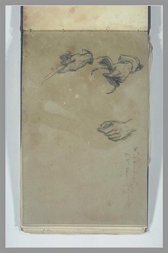 ISABEY Eugène : Trois mains droites, une tenant un chapeau, note manuscrite