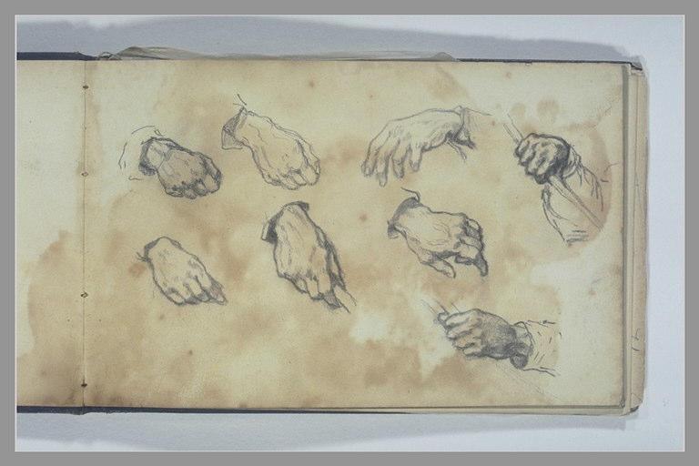 ISABEY Eugène : Huit études de mains droites et de mains gauches
