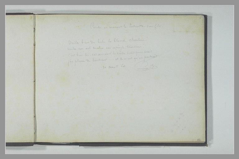 Note manuscrite : un quatrain