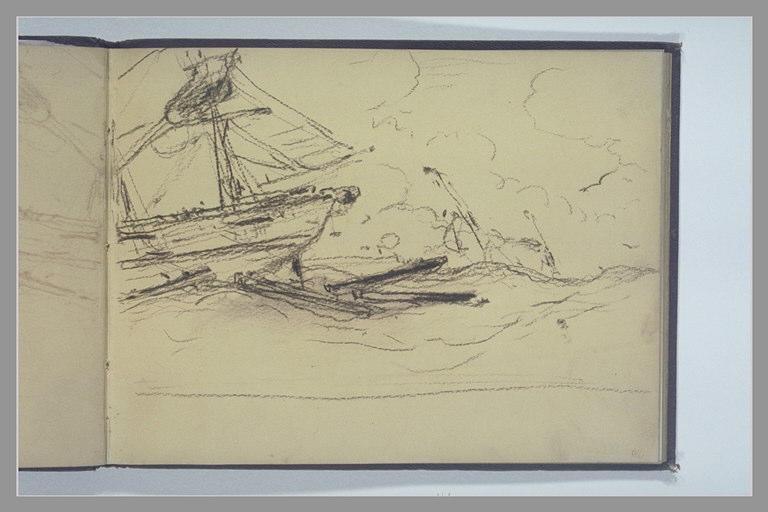 ISABEY Eugène : Bateaux sur une mer houleuse