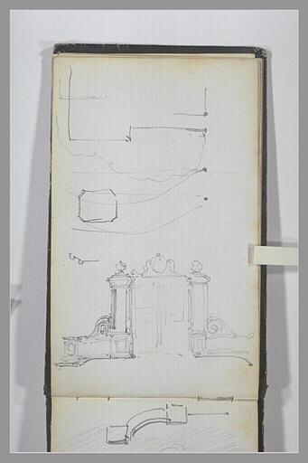 ISABEY Eugène : Plan du parc d'un château, portail monumental