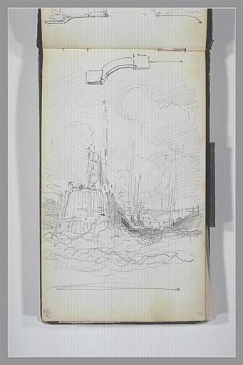 Piles et mur incurvé d'un portail ; entrée d'un port