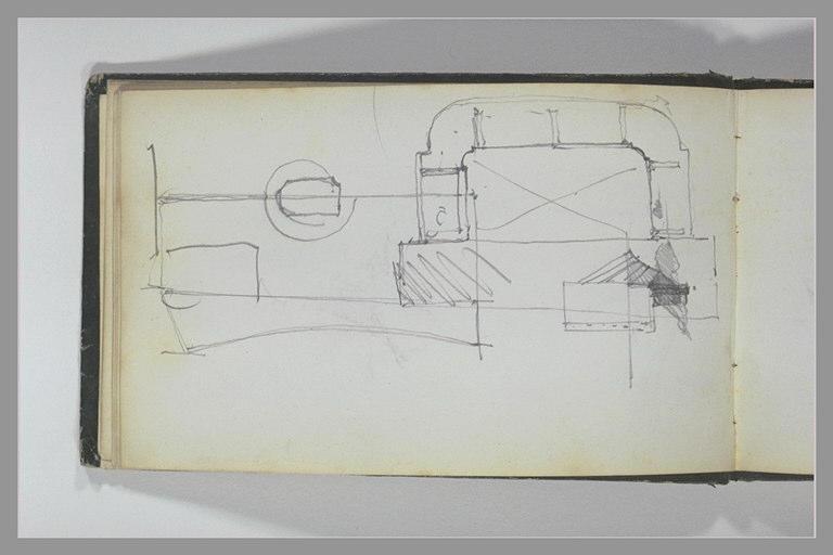 ISABEY Eugène : Plan d'un édifice et de son jardin