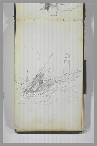 ISABEY Eugène : Un phare au bout d'une jetée