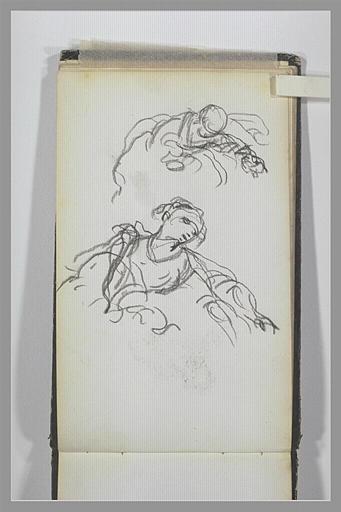 ISABEY Eugène : Deux figures à mi-corps, de trois quarts vers la droite