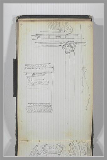 Entablement porté par des colonnes jumelées ; détail de l'entablement