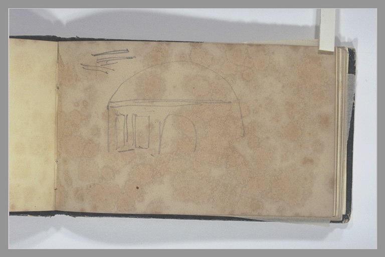 ISABEY Eugène : Porte et deux fenêtres dans un mur cintré