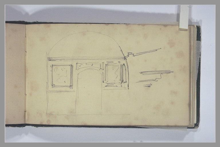 ISABEY Eugène : Porte dans un mur d'une salle voûtée