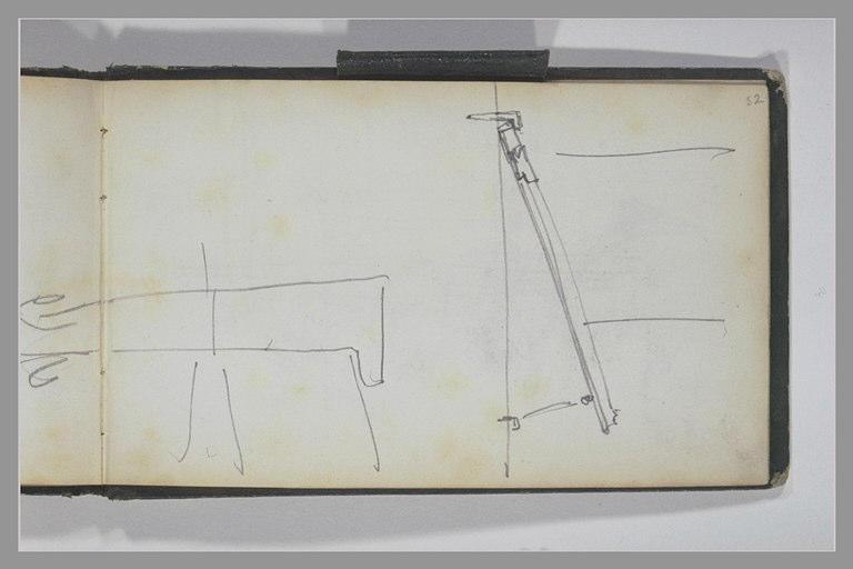 ISABEY Eugène : Système d'accrochage d'un tableau, vu de profil, reprise de la patte du bas