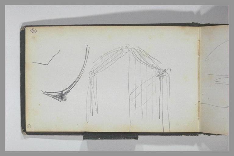ISABEY Eugène : Porte cintrée habillée d'une tenture