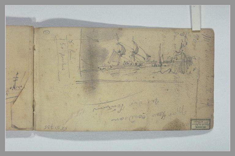Voiliers longeant une jetée ; notes manuscrites