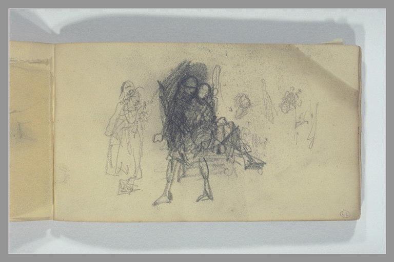 Femme debout et un homme portant une autre figure