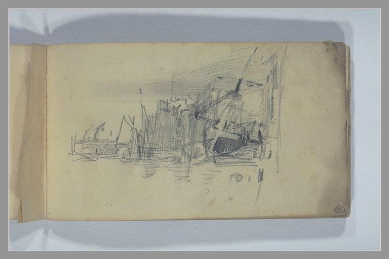 ISABEY Eugène : Bateaux au port