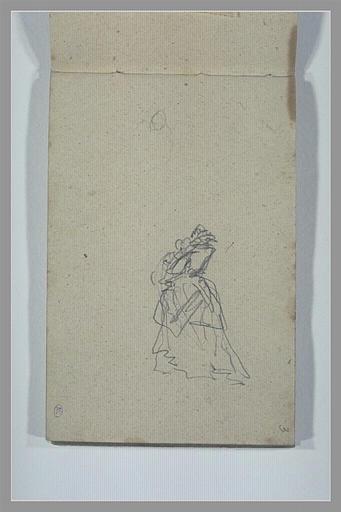 Tête ; femme vêtue d'une robe du XVIIe siècle, vue de dos