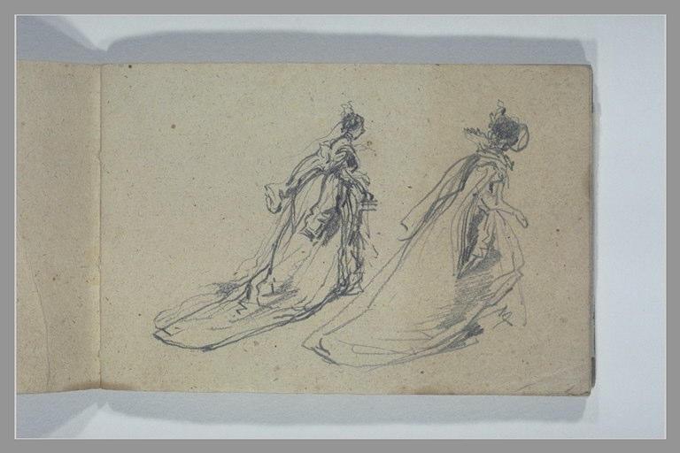 Deux études d'une femme vêtue d'une longue robe