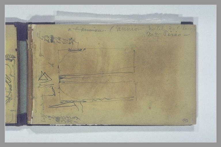 ISABEY Eugène : Note manuscrite, croquis