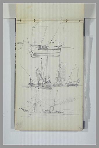ISABEY Eugène : Etudes de voiliers sur trois registres