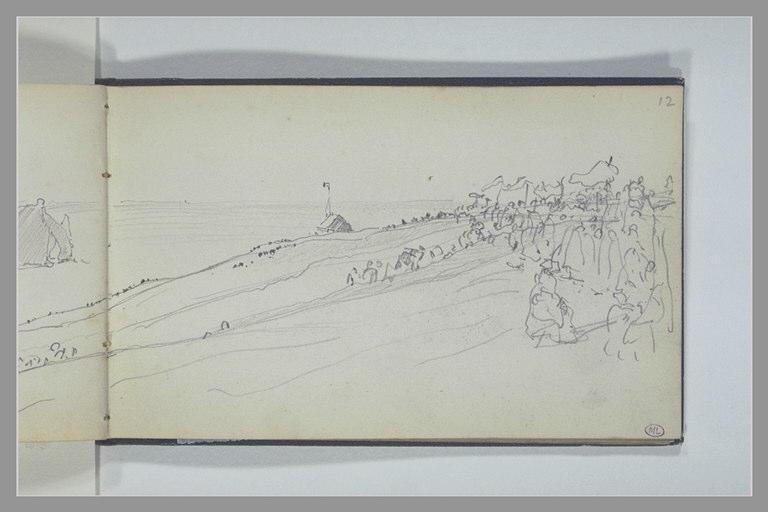 ISABEY Eugène : Vue de la mer et de la côte depuis de hautes falaises, un jour de procession