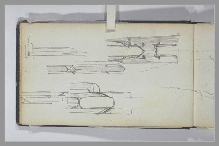 ISABEY Eugène : Croquis techniques, esquisse de collines