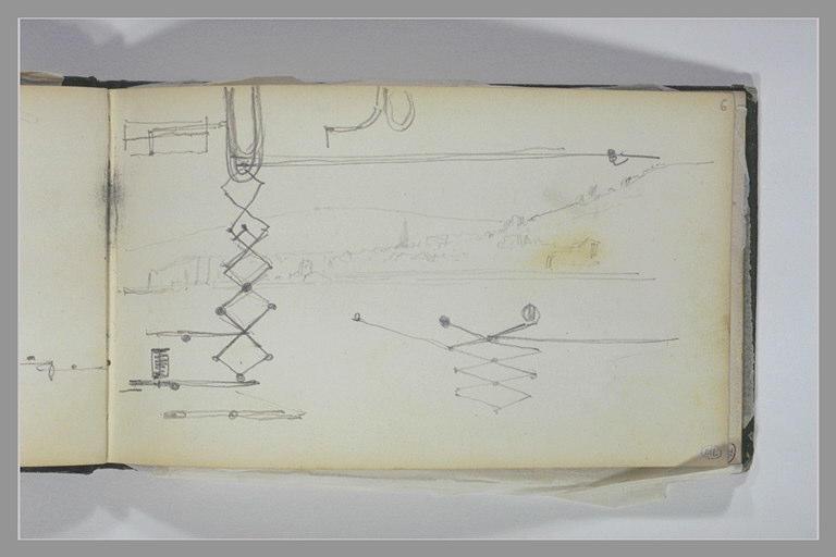 ISABEY Eugène : Paysage côtier, croquis techniques avec des études de pantographes