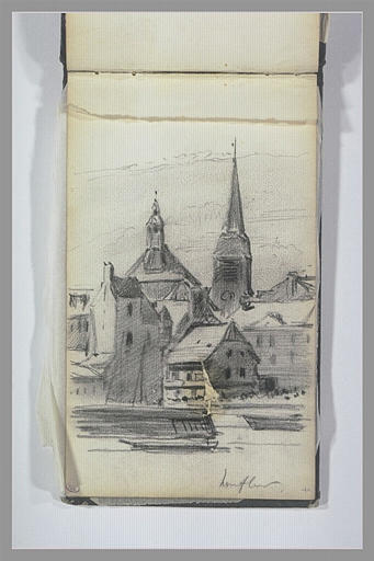 Eglise et maisons à Honfleur_0