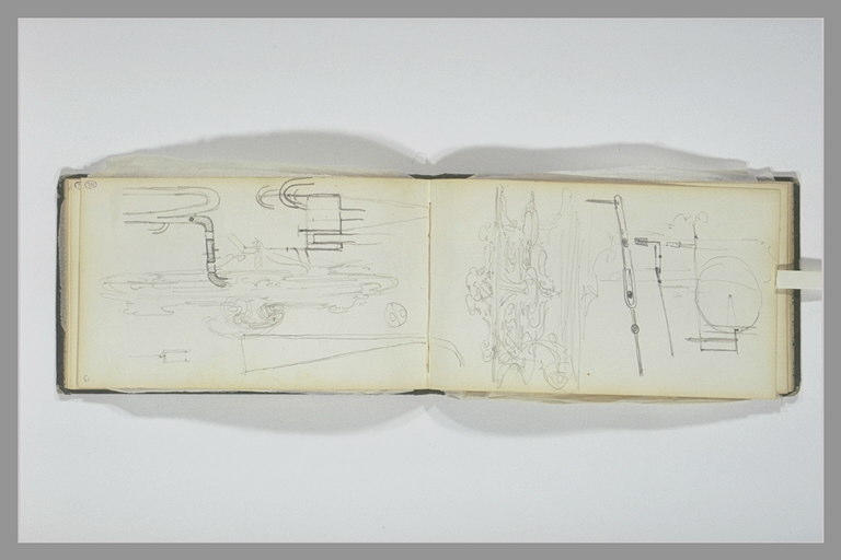 ISABEY Eugène : Croquis technique, esquisse d'art décoratif