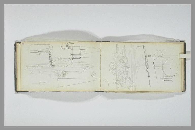 ISABEY Eugène : Esquisse d'art décoratif, croquis techniques