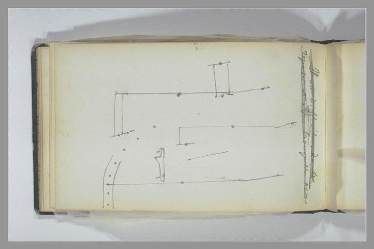 ISABEY Eugène : Croquis techniques, note manuscrite (biffée)