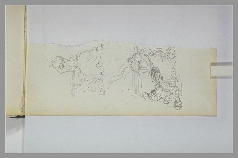 ISABEY Eugène : Femme et enfant agenouillés, femme assise et deux autres figures