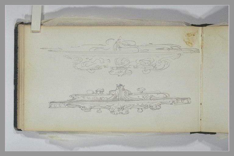 ISABEY Eugène : Etudes d'art décoratif : deux esquisses d'une console (?)
