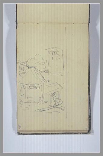ISABEY Eugène : Esquisse d'un lavoir (?) devant un arbre et une tour